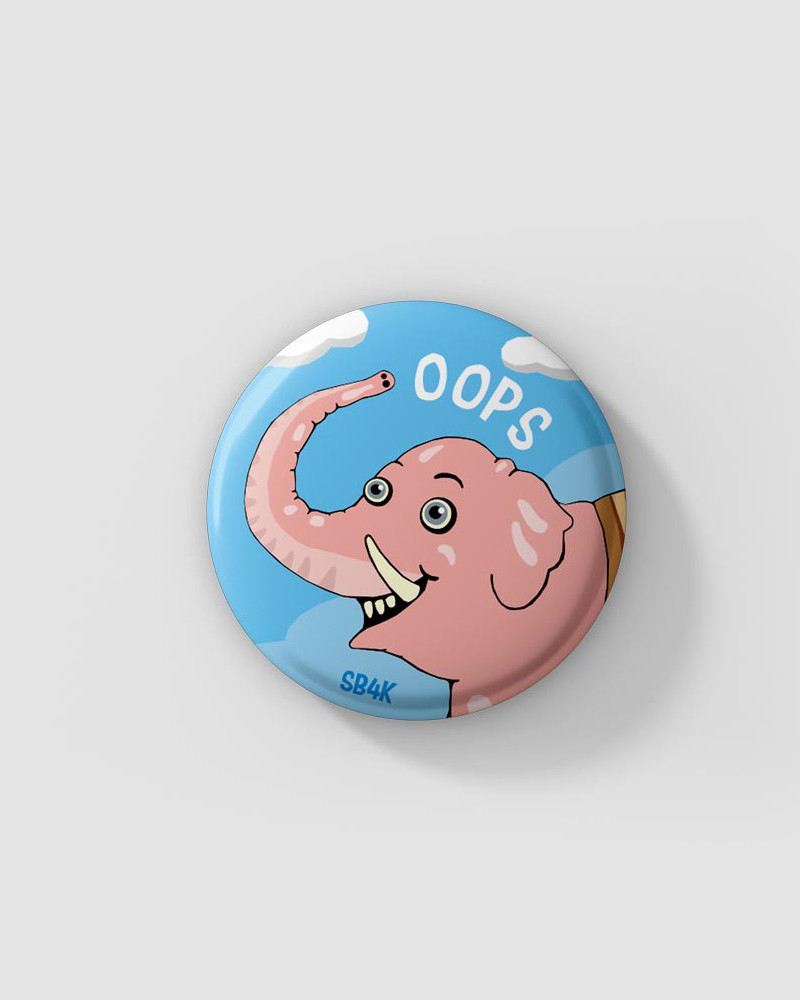 Значок с авторским рисунком -  OOPS. Ø37 mm