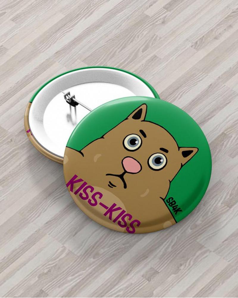 Значок с авторским рисунком -  KISS-KISS Ø37 mm