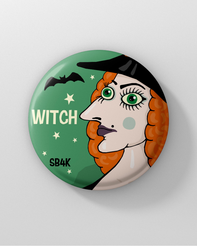 Значок с авторским рисунком - WITCH Ø37 mm