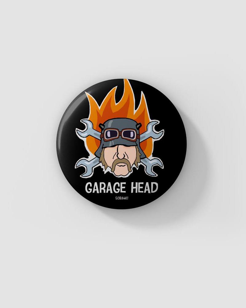 Значок с авторским рисунком - GARAGE HEAD SB4K Ø37 mm