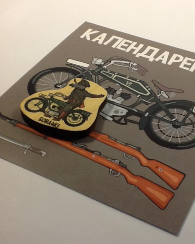 Деревянный магнит waf-waf & soba4ki - Карл (на мотоцикле)