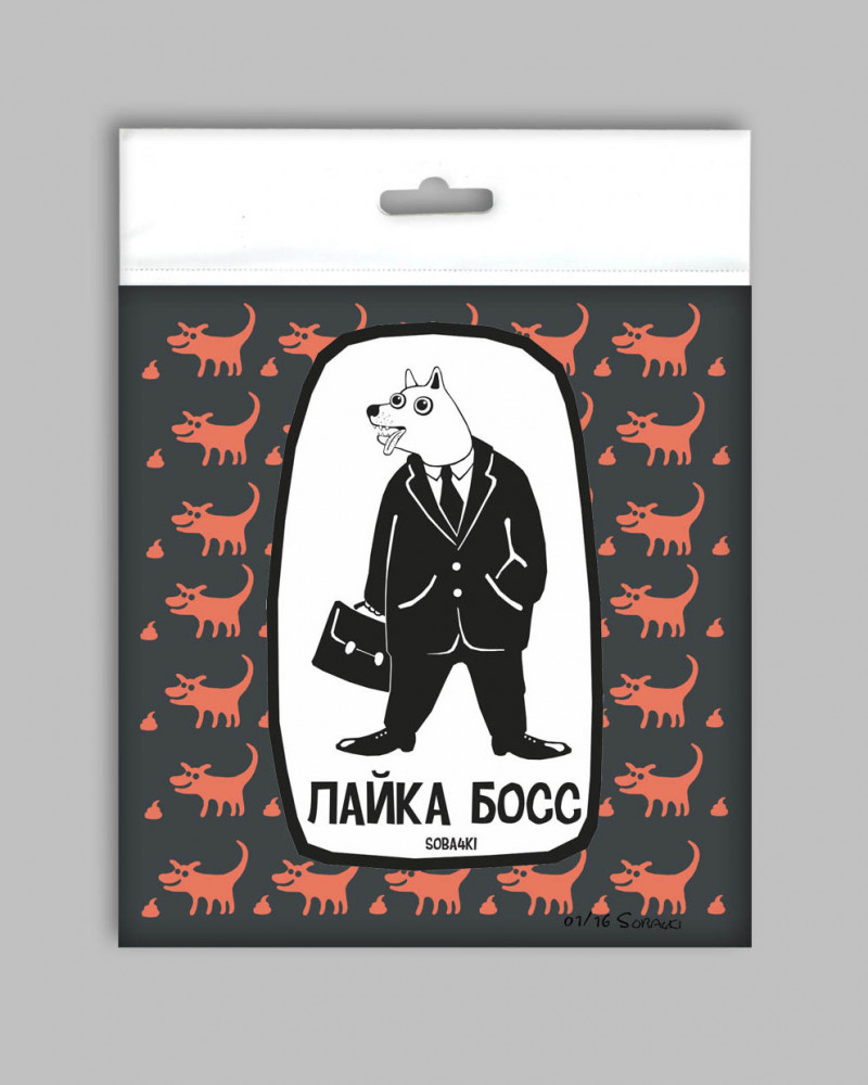 Значок с авторским рисунком - Лайка Босс