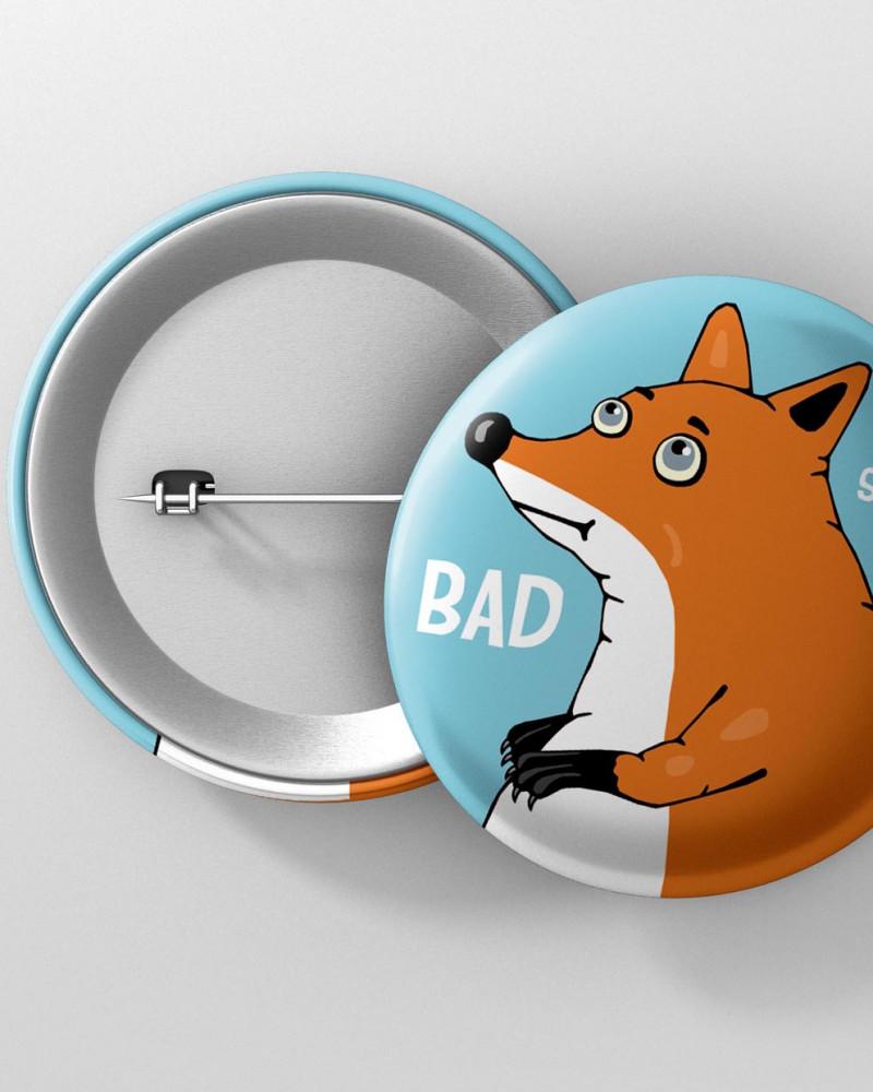 Значок с авторским рисунком - BAD SB4K  Ø37 mm
