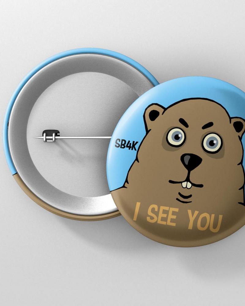 Значок с авторским рисунком - I SEE YOU SB4K Ø37 mm
