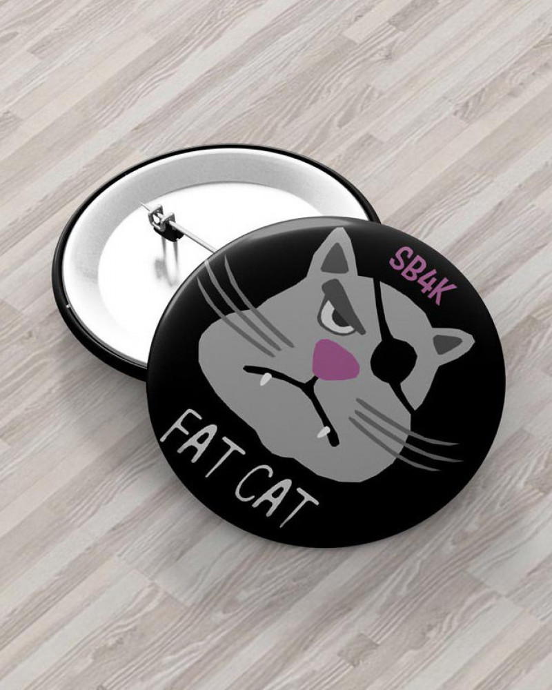 Значок с авторским рисунком - FAT CAT SB4K Ø37 mm